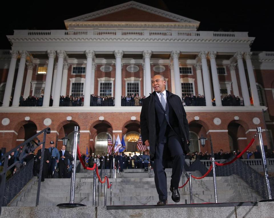 Deval Patrick exited the State House on his last full day as governor.
